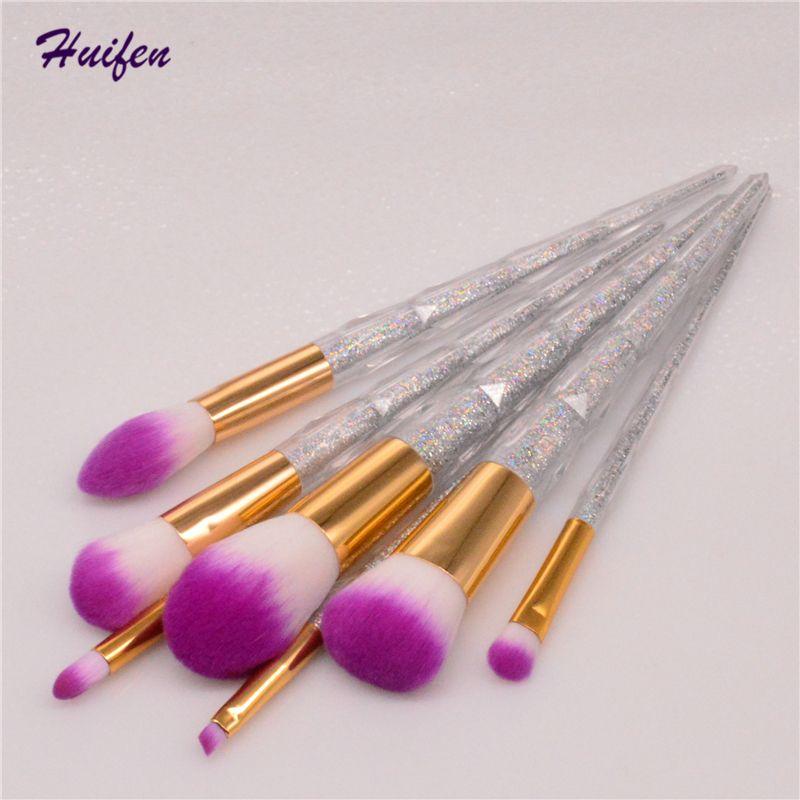 7pcs pinceau de maquillage de paillettes ensemble diamant rose cheveux fondation cosmétique poudre poudre blush contour pinceau pro maquillage kits outils (Yp0196)
