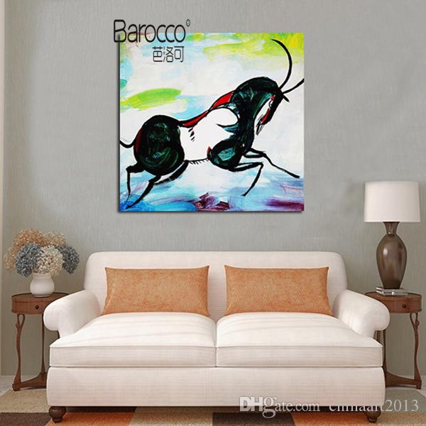 Running Horse 100% Hand Painted Animal Oil Paintng on Canvas Abstract Oil Painting Modern Home Wall Art Decoration Gift