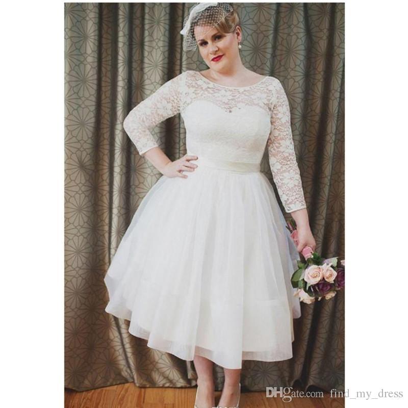 Newest 2017 Short Wedding Dresses Plus Size Long Sleeve A Line Lace Bridal  Gowns Sash Bow Tea Length Garden Tulle Open Back Fashion Sheath Column ...