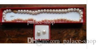 Collana con perle bianche 8-9mm Set di orecchini 18 pollici