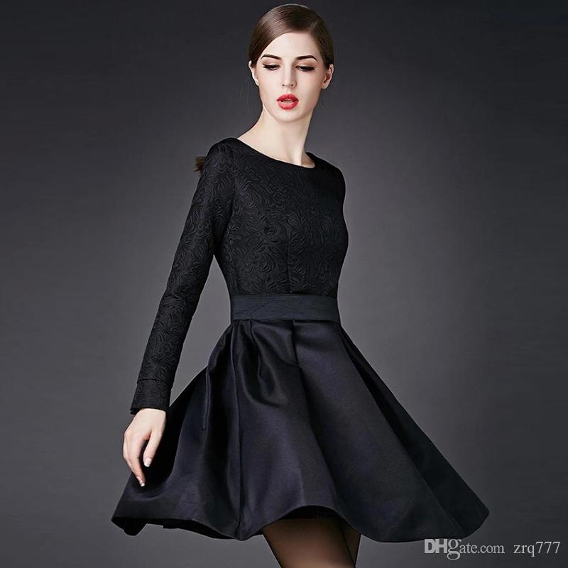 Compre 2018 Olivia Palermo Elegantes Vestidos Negros Jacquard Manga Larga Vintage Hoppen Estilo Una Línea De Vestidos De Bola Vestidos Casuales Midi
