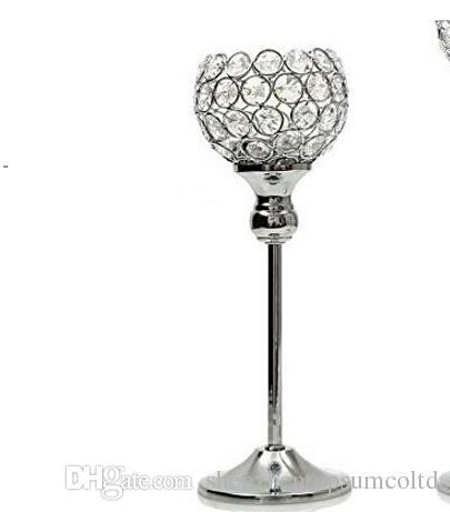 """20 Pz / lotto, portacandele in cristallo di vetro, 12 """"x4"""" di larghezza, centrotavola per matrimoni in argento"""