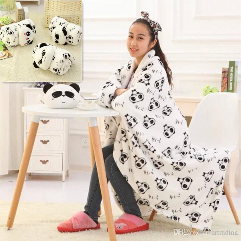 3 estilos Bonito Dos Desenhos Animados Panda Coral Cobertor Panda expressão cobertor de pelúcia 200 * 170 cm cobertor de Ar condicionado cobertor de Manta