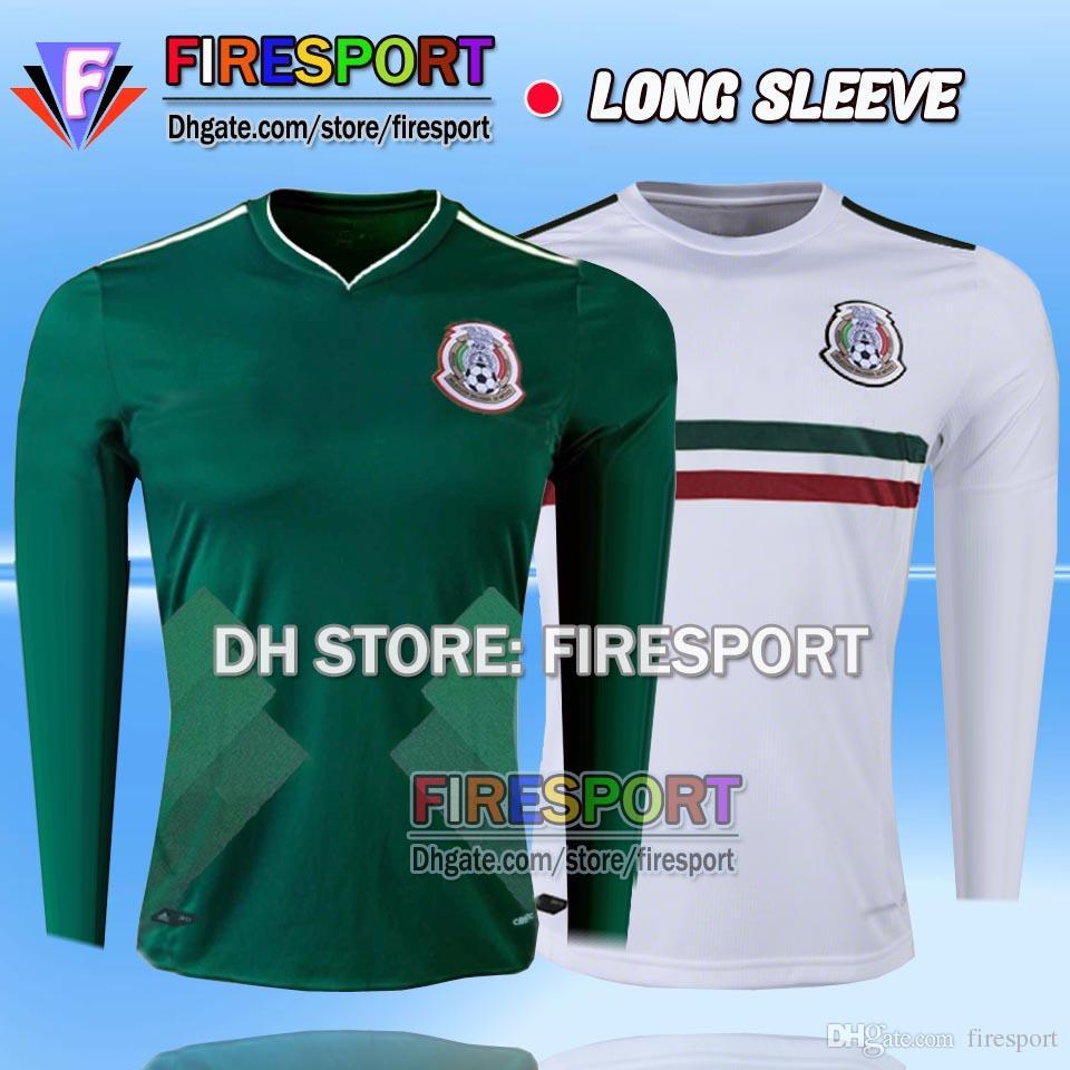 New Arrived TOP 2017 2018 Mexico Long Sleeve Soccer Jersey Home Away 17 18  CHICHARITO Camisetas de futbol G DOS SANTOS football shirts e2bc5a2ede1a