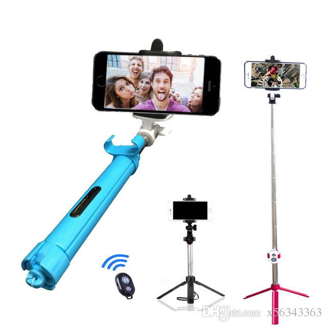 Selfie vara Tripods bluetooth temporizador selfie monopods Extensível Self Portrait Vara remota para Android Iphone smartphone MOQ: 20 PCS
