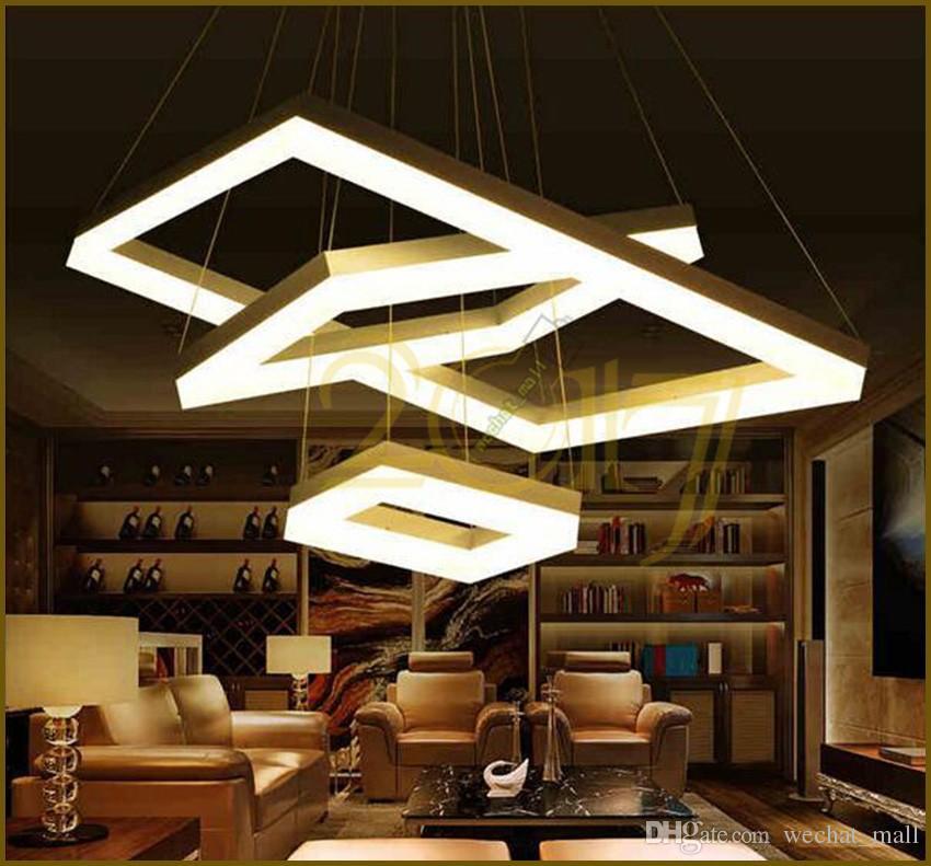 Compre Luces Colgantes Led Modernas Para El Comedor De La Sala Rectángulo  Acrílico Lámpara Colgante Led Accesorio Lamparas Modernas LED Luz Colgante  ...