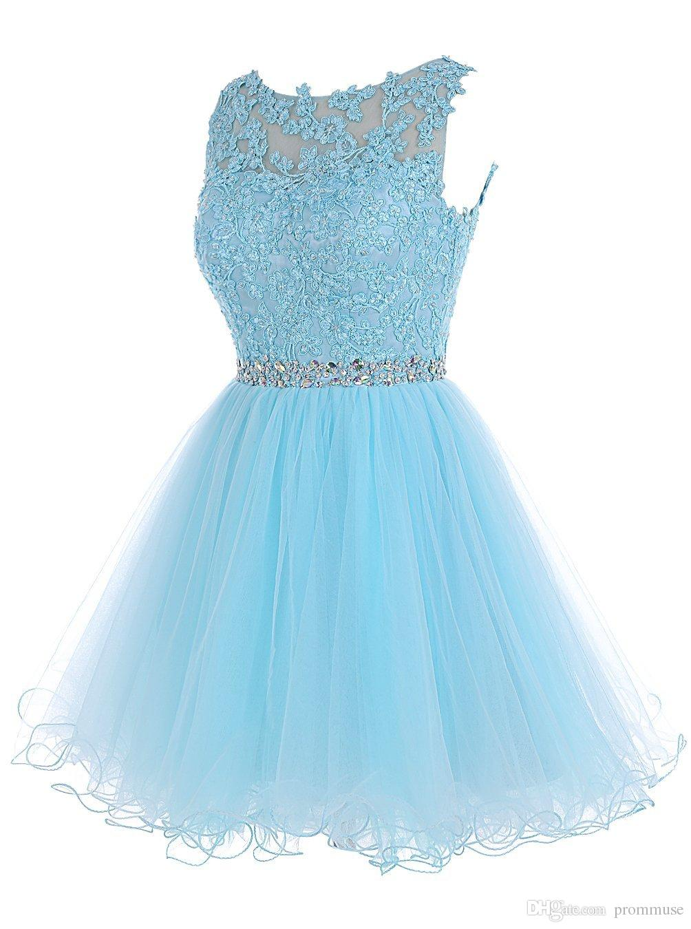 Sweet 16 Short Prom Dresses Lace Appliques with Crystal Beads ...