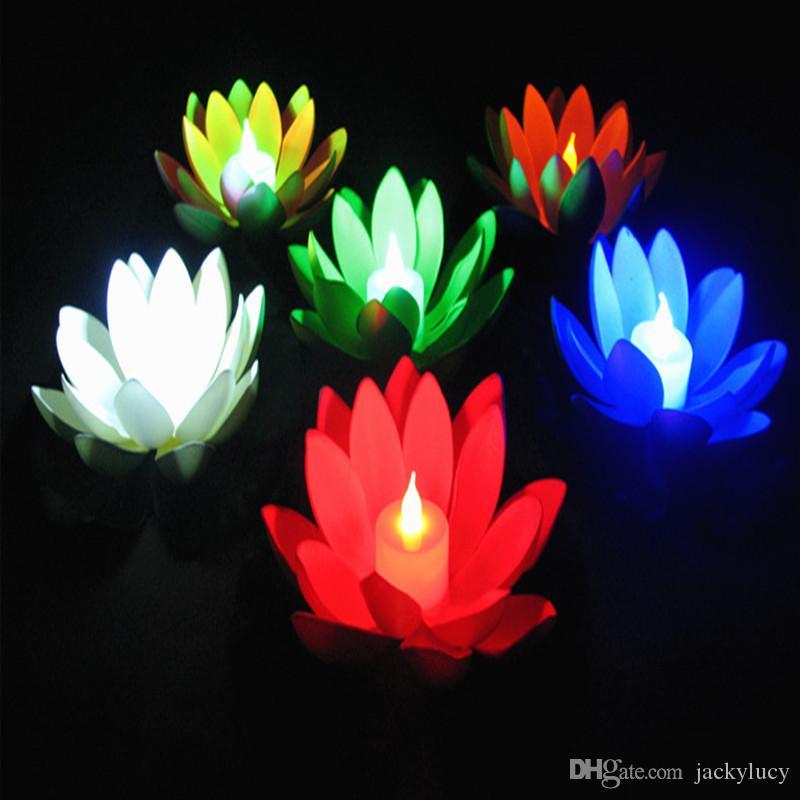 Shiny LED Lotus Candle Wishing Lamp Artificial Floating EVA Flower with Electronic Lights For Xmas Birthday Wedding Party Supplies