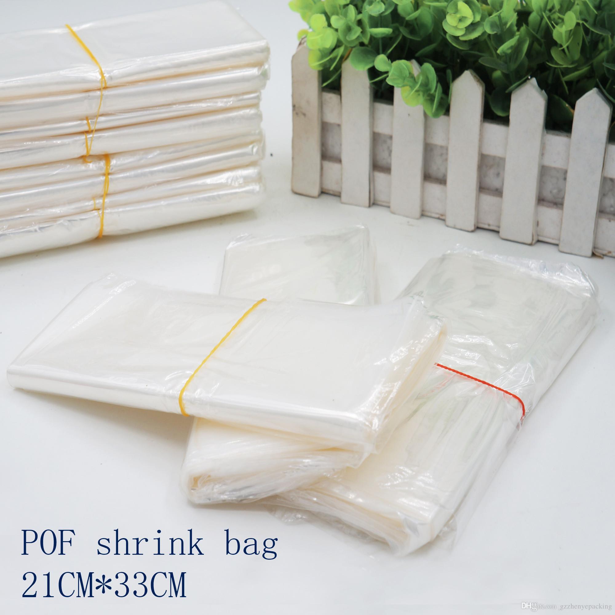 21 * 33cmPOF Schrumpffolienbeutel weiß POF Folienverpackung Kosmetikverpackungstasche oben offener Kunststoff-Heißsiegelschrumpfaufbewahrungstasche Spot 100 / package