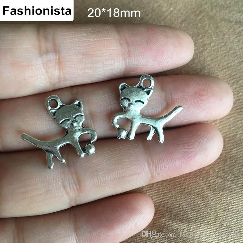 100 Pcs Cats Charms 18*20mm Antique Silver Tone Cat is playing with a ball,suitable for all kinds of craft projects