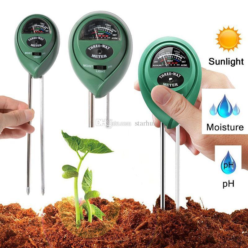 Misuratore di umidità del suolo 3 in 1 Misuratore di umidità del suolo / Luce / Valore pH Strumento per il potenziometro del pot da giardino Strumento per giardini da giardino In magazzino WX9-31