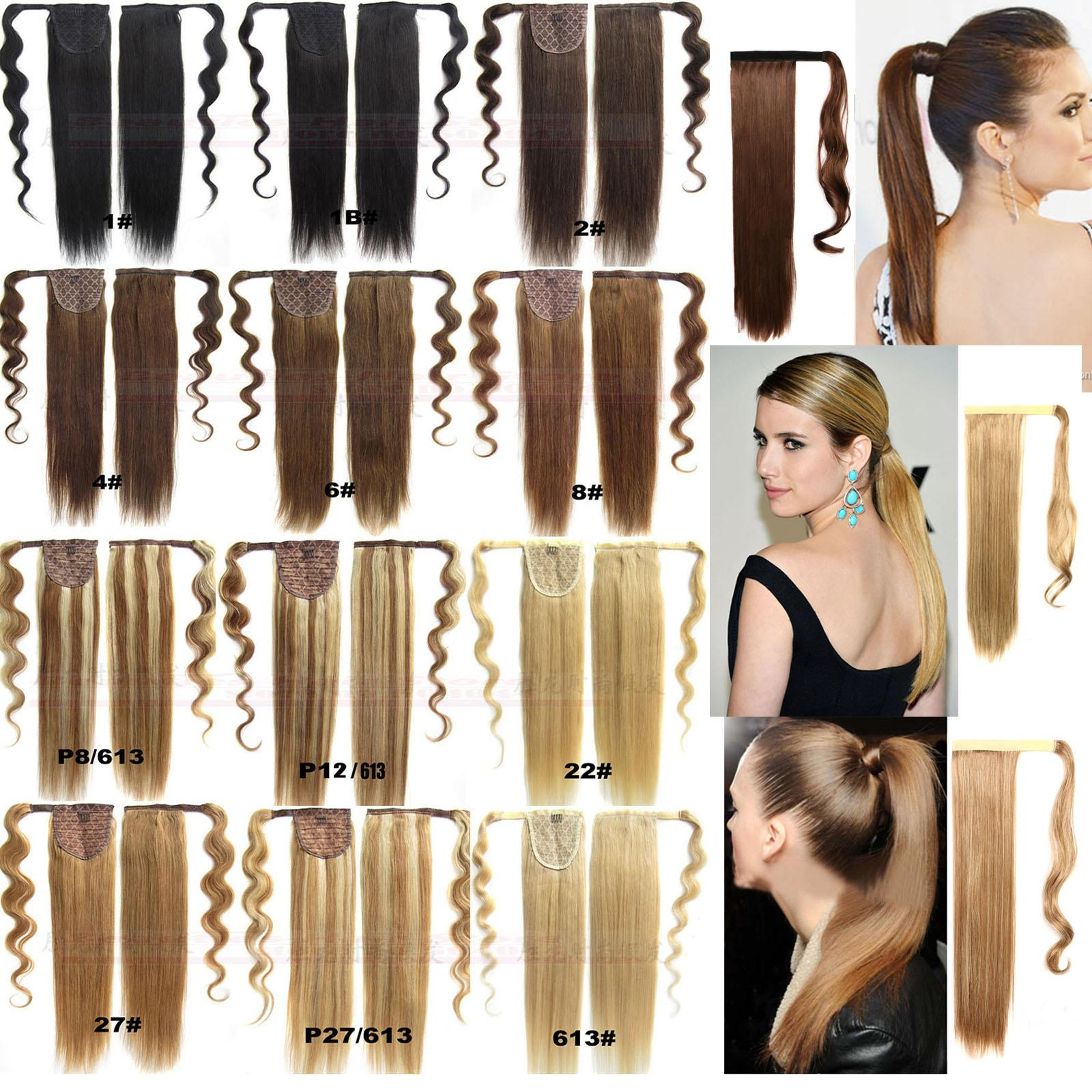 """16""""-32"""" 100% Natural Brazilian Remy Human hair Velcr Magic Ponytail Horsetail Clips in/on Human Hair Extension Straight Hair 60g-140g"""