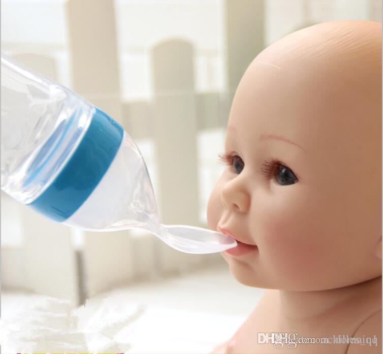1 st/ück 90 ml Babyflasche Silikon Extrusion F/ütterung Typ Infant Kids Care L/öffel Reis Paste Babynahrung Flasche 5 farben Blau