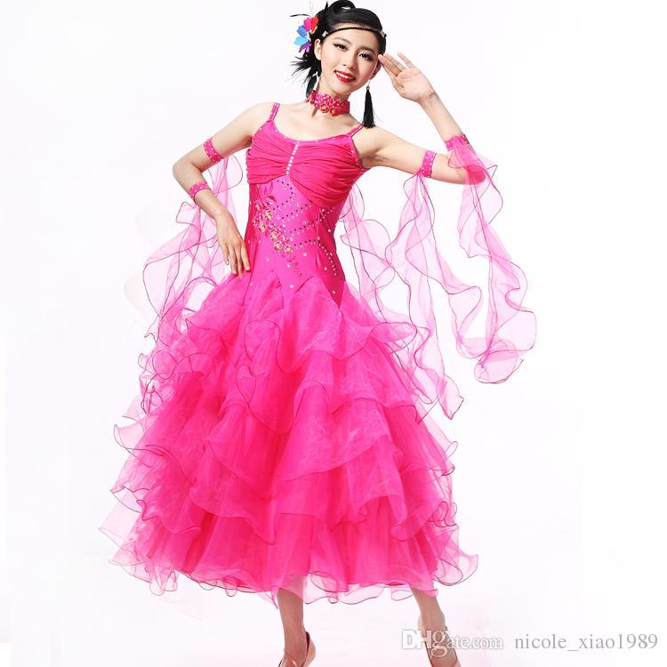 10Color Modern Dance Kleid Frauen Diamant Stickerei Waltz Tango Foxtrot Quickstep Kostüm Wettbewerb Kleidung Standard Gesellschaftstanz Rock