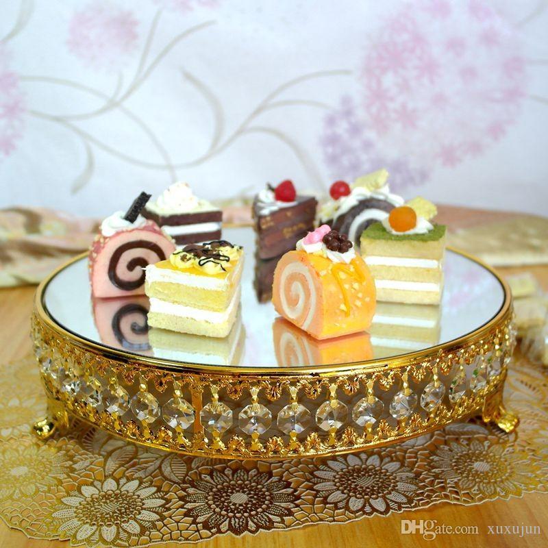 ゴールドメッキの新しいスタイルのクリスタルチェーンミラーケーキスタンド/フルーツプレート、結婚式の用品、家の装飾