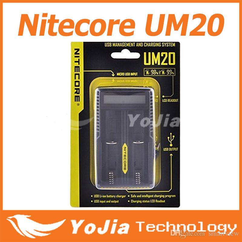 40pcs 정품 Nitecore UM20 디지털 스마트 USB 충전기 18650 17650 17670 RCR123A 16340 14500 D2