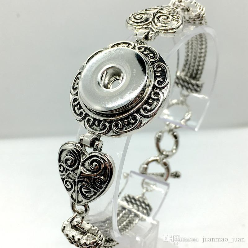 Frauen Fahion 5pcs viel Druckknopf Herz Antik Silber Armband Fit 18mm Snaps Chram Diy Noosa Ingwer Snap Schmuck