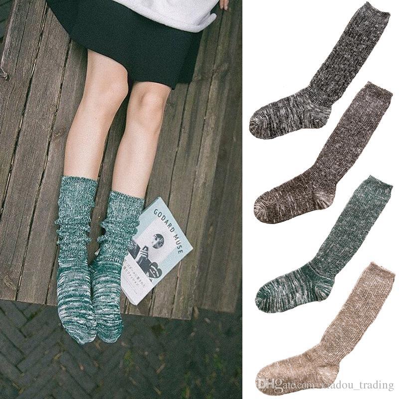 Otoño viento nacional damas calcetines de punto grueso línea Sen Departamento de color retro Pila montón calcetines venta al por mayor