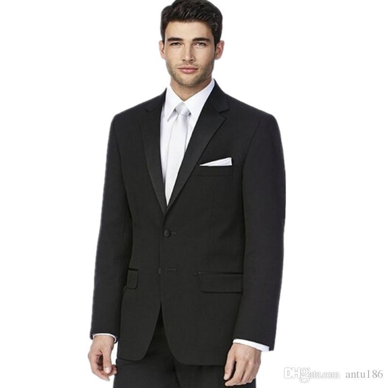 Son tarzı damat takım elbise smokin moda siyah erkek resmi fırsat takım elbise saf renk iki düğme erkek düğün takımları (ceket + pantolon)