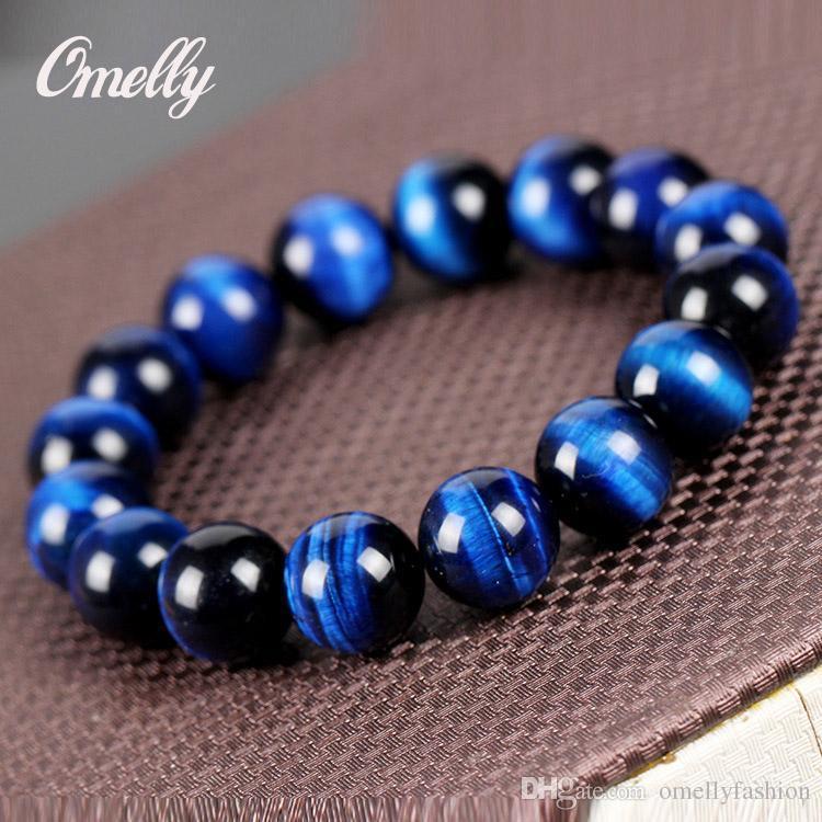 Brazalete Elástico Piedra Preciosa Natural para hombres y mujeres de todas las cuentas de ojo de tigre 10mm Azul