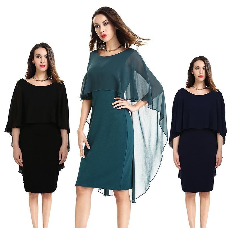 Plus Size S To XXXXL Chiffon Cloak Batwing Party Evening Bodycon Pencil Dresses 3 Colors Black Green Navy