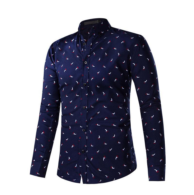 Оптовая торговля-мужчины рубашки новое Прибытие 2017 лето мужчины с длинным рукавом рубашки повседневная мужская Pattern печати Slim Fit Dress рубашки Мужские Camisa Hombre