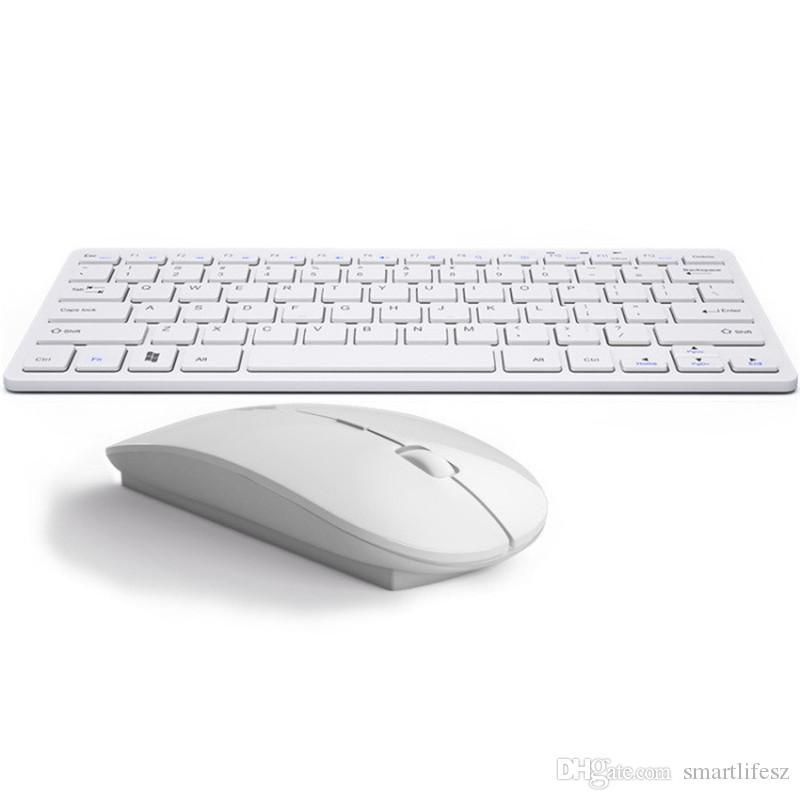 رقيقة جدا الدفتري كتم لوحة المفاتيح الخارجية 2.4G البسيطة لوحة المفاتيح اللاسلكية ماوس تعيين وزارة الداخلية TV أو الماوس مفتاح للحصول على أبل IOS الروبوت ويندوز