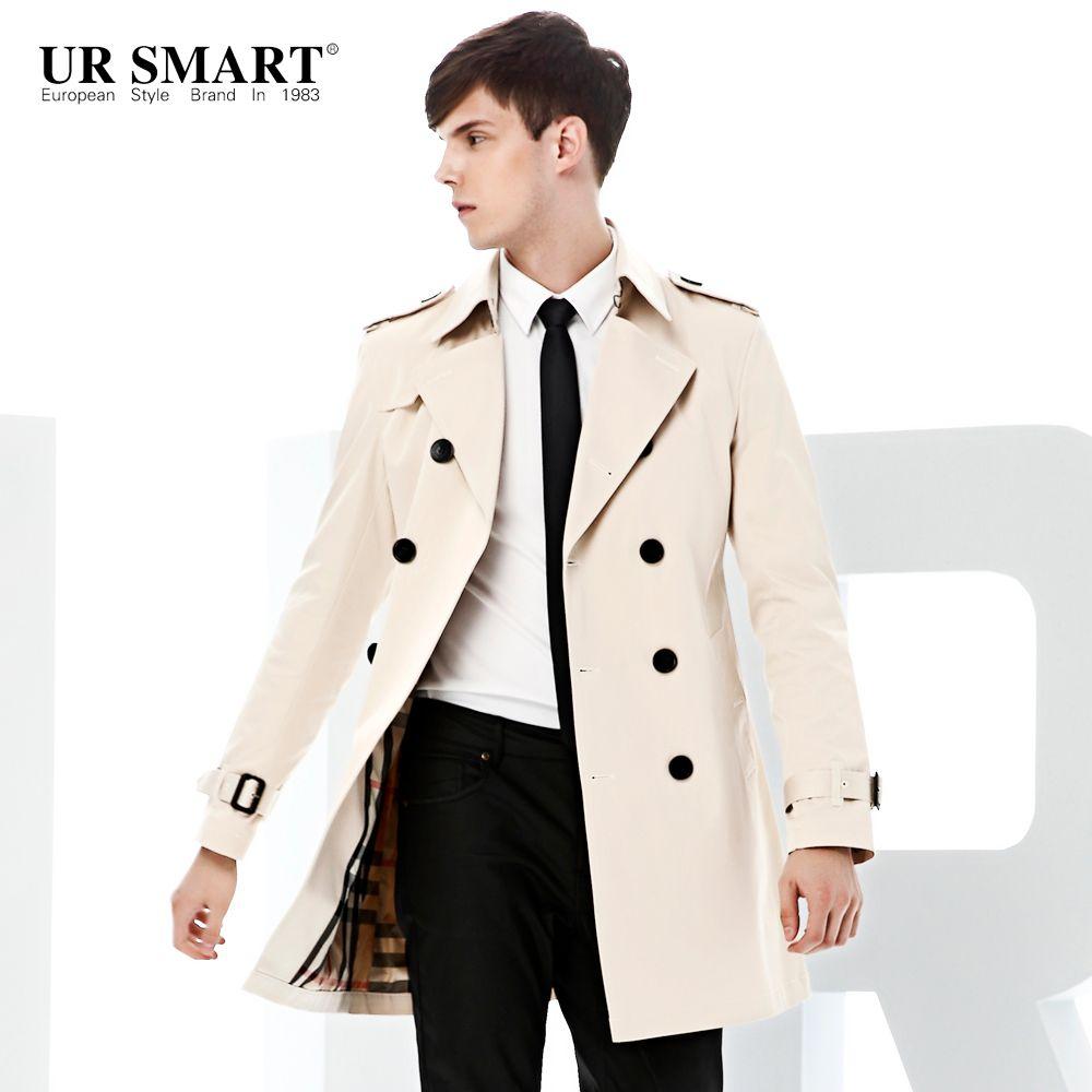 El abrigo de polvo de los hombres de doble pecho de párrafo de Ursmart crece en los rompevientos de los hombres, blanco original, abrigo de zanjas auténticas