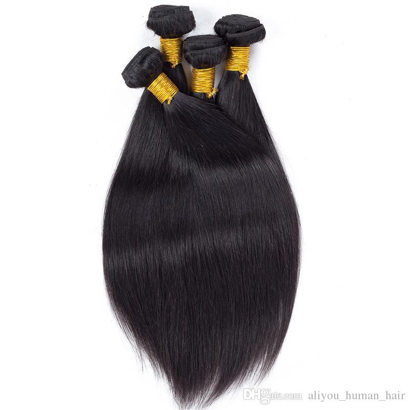 Extensiones de cabello humano Remy al por mayor de cabello virgen peruano Extensiones de cabello humano 4 piezas Paquetes de cabello sin procesar Doble trama Color natural teñible