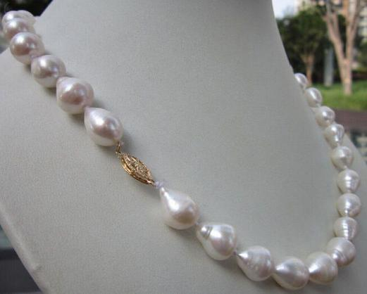 Beautiful 11-13mm south sea baroque white pearl necklace 14k Gold Clasp 19 inch