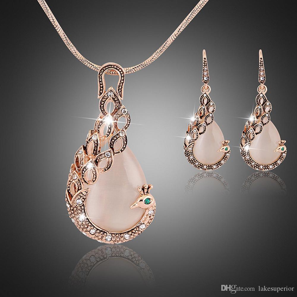 Женщины дамы павлин Кристалл горный хрусталь кулон ожерелье падение серьги набор мода водослива комплект ювелирных изделий подарок для любви