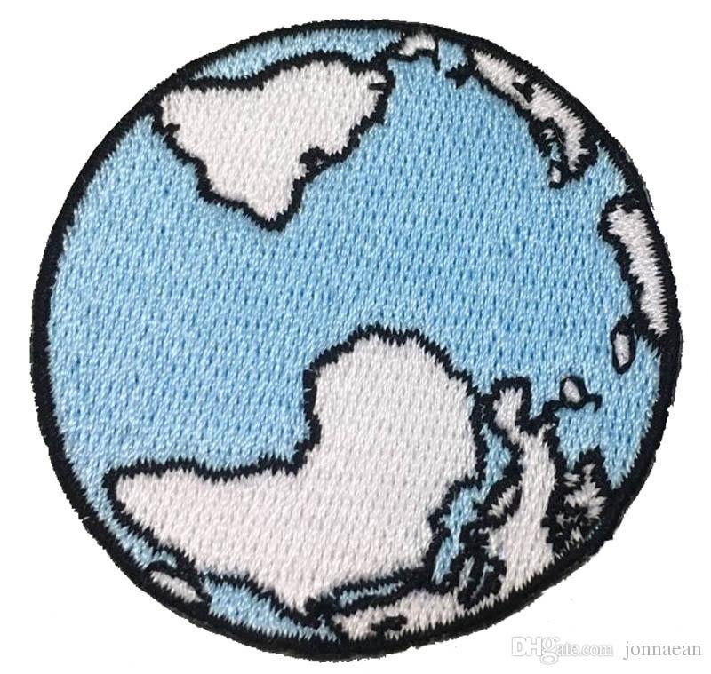 5cm de large avec des correctifs de broderie de mode Design personnalisé Blue Earth 100% emb 10pcs Beaucoup Livraison gratuite
