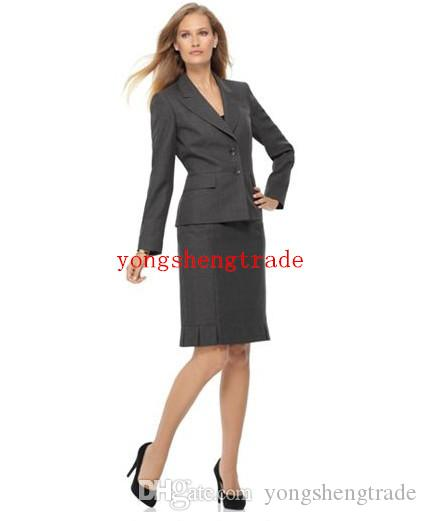 Popular Gray Women Suit Custom Made Women Business Suit Peak Lapel