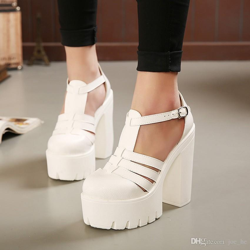 Nouveau chaud bon ok vente chaude 2017 nouvel été mode sandales plates-formes hautes femmes casual dames chaussures noir blanc taille EUR 35 à 40