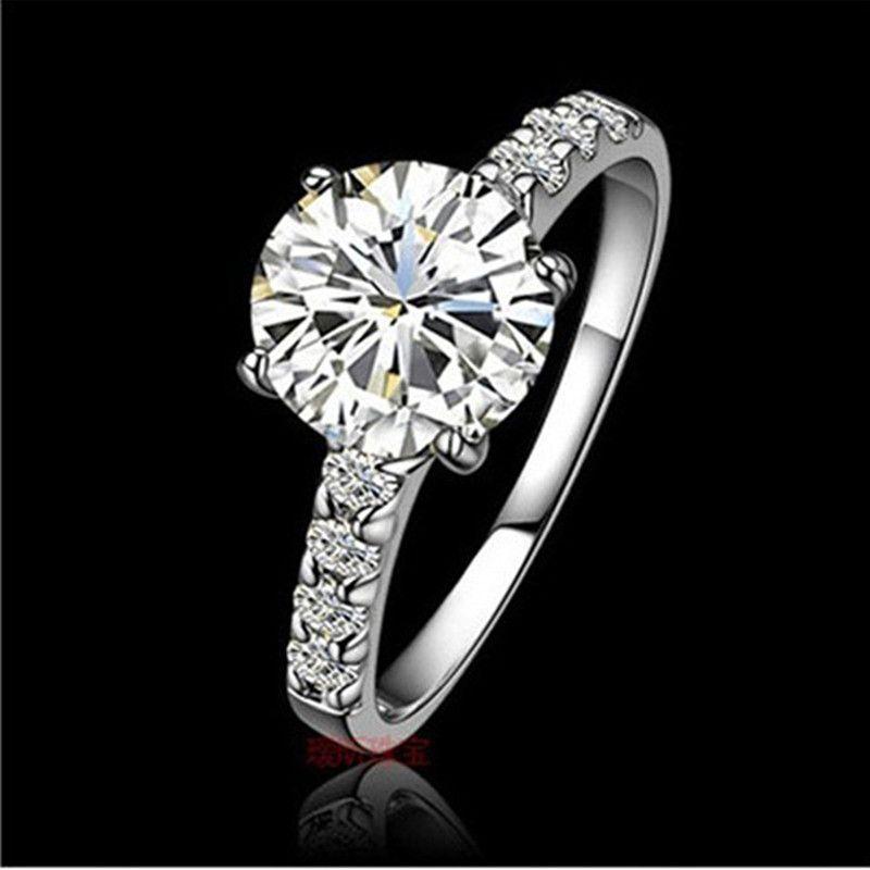 Eccellente 1CT Anello di fidanzamento con diamante sintetico brillante Anello in oro bianco Gioielli di ottima qualità