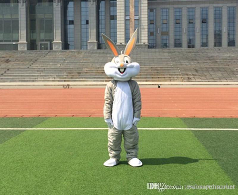 wholesale PROFESSIONAL EASTER BUNNY MASCOT COSTUME Bugs gray Rabbit Hare Adult Fancy Dress Cartoon Suit Fancy Dress