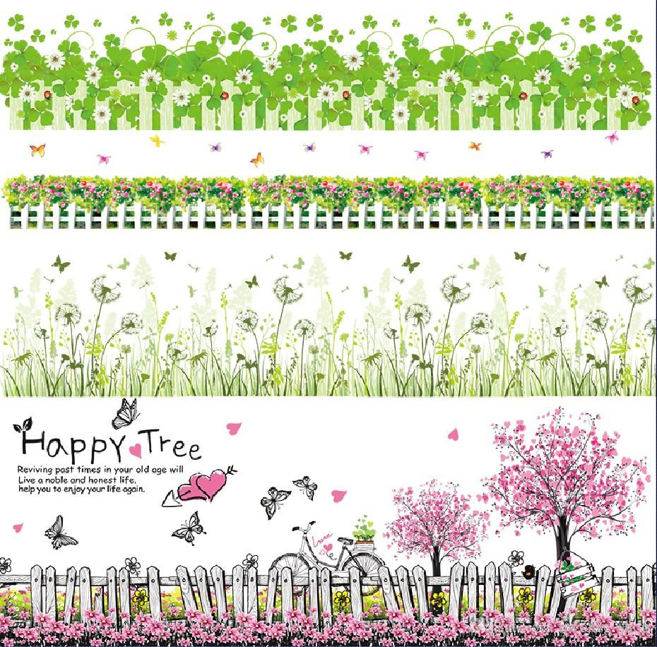 Colorful Flower Skirting Line Wall Stickers Garden Flowers Wall Decal Window Decoration Home Décor DIY Removable Wallpaper 22 Styles