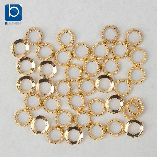 Wholesale- Blueness Nail Art Gold Ring Charms Decoration for Nails Design 10pcs/lot Glitter Nail Jewelry Alloy 3D Nail Design PJ049