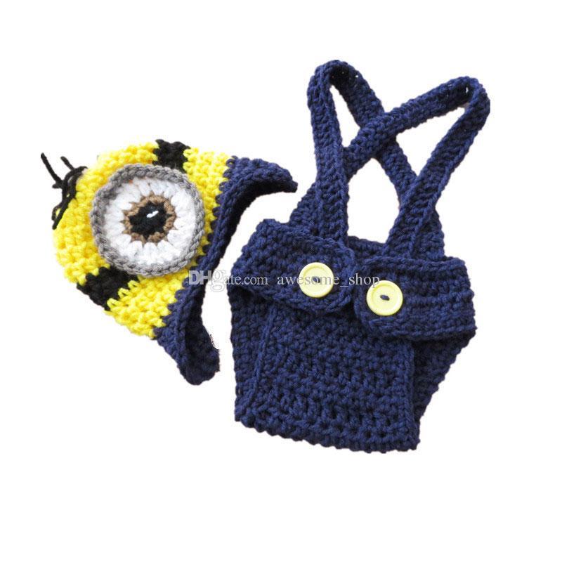 Hecho a mano de punto Crochet One Eye Minion, Baby Boy Girl de dibujos animados Minion Hat y Shorts Set, Niño de Halloween Photo Prop, Baby Shower Gift