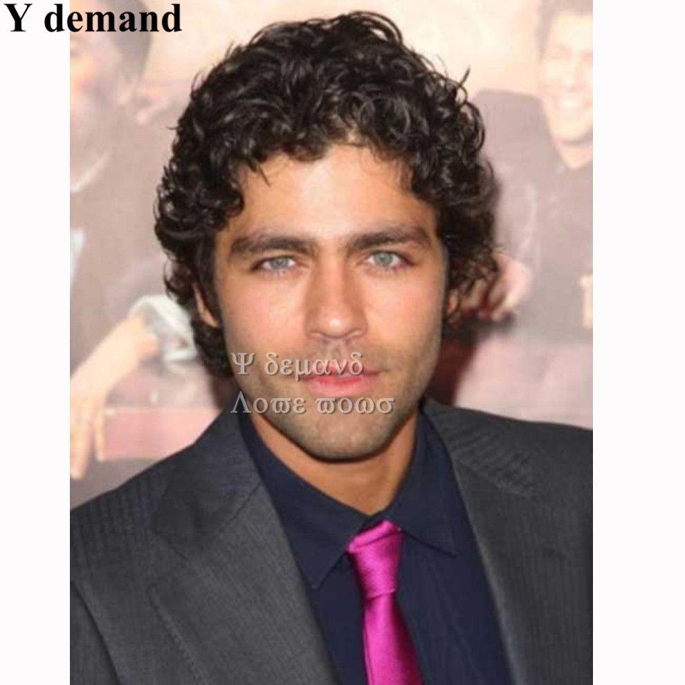 Perruques synthétiques pour hommes Meilleure vente Noir Couleur Vierge Brésilienne Cheveux Aucun Dentelle Afro Curl Avec Beau Livraison Gratuite