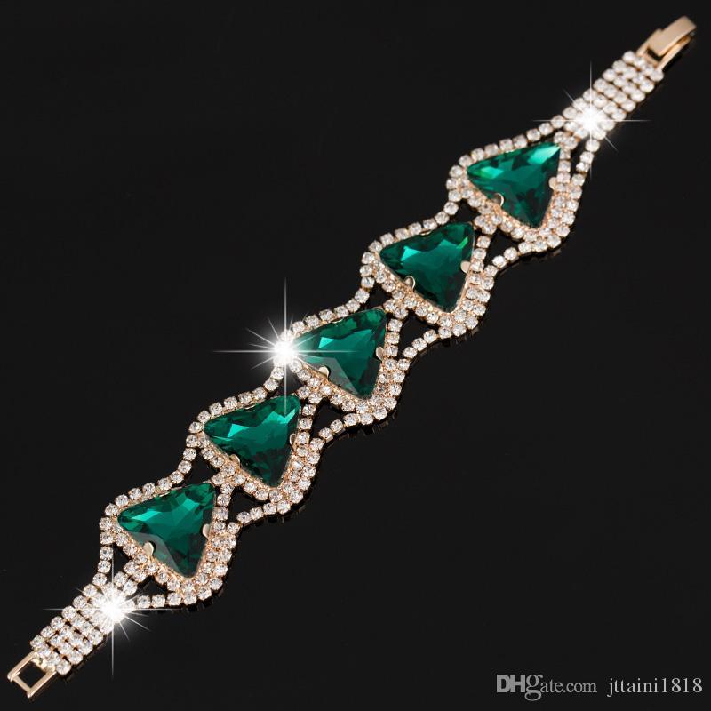 Le nuove donne di moda 3 colori strass triangolo braccialetto di cristallo catena di cristallo braccialetto grande cristallo donne matrimonio B030