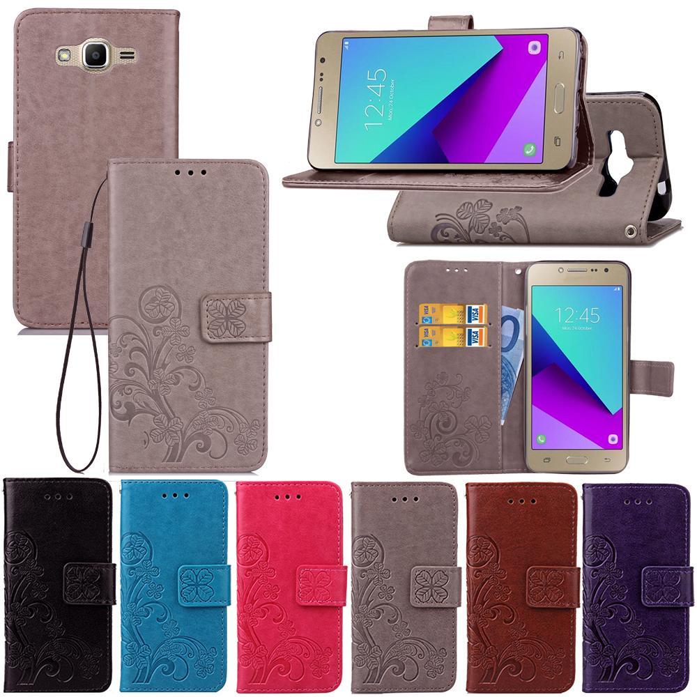 Brieftasche Telefon Hüllen für Samsung Galaxy J7 J5 J4 Plus Neo J3 EUR J730 J530 J510 J330 J320 J310 J1 ACE Core Pro Prime J120 J1 J400F J600G Lucky Vier Blattstil