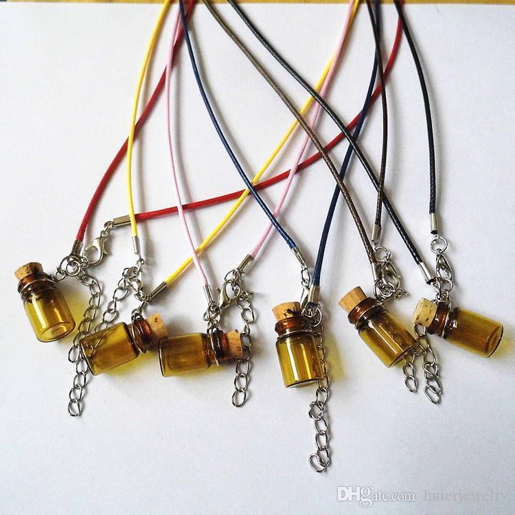 Garrafa Colares Que Desejam Garrafa de Longo Colar De Corda De Couro Camisola Colar de Óleo Essencial Difusor Colar