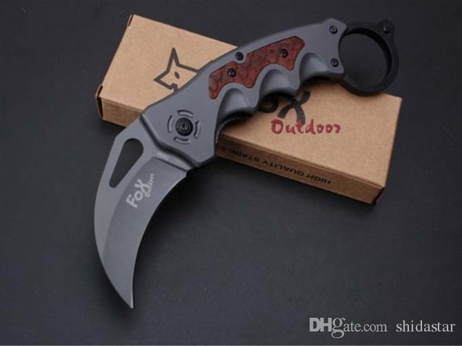 Fox Da93 Titanium garra karambit tático faca dobrável 5cr15Mov 57hrc camping caça sobrevivência bolso militar utilitário venda ferramenta coleção