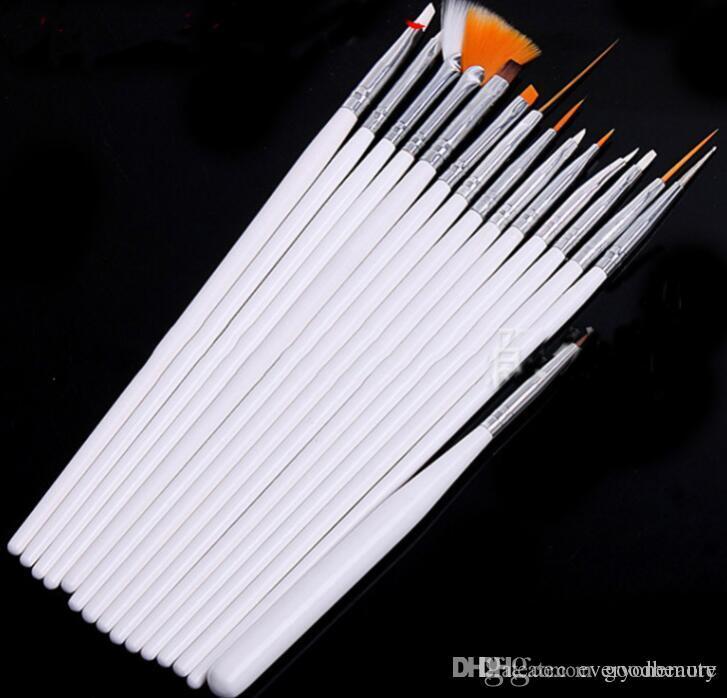 15 adet Nail Art Süslemeleri Fırça Seti Araçları Profesyonel Süsleyen Boyama Çizim Lehçe Fırça Kalem Araçları