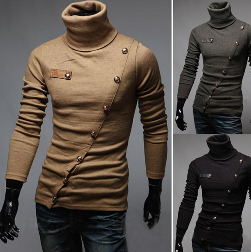 Swester Sweatshirt Men Pullover Sweaters Slant Inclined Single Breasted Design High Collar Long Sleeve Free Shipping Slim Fit For Man 2017