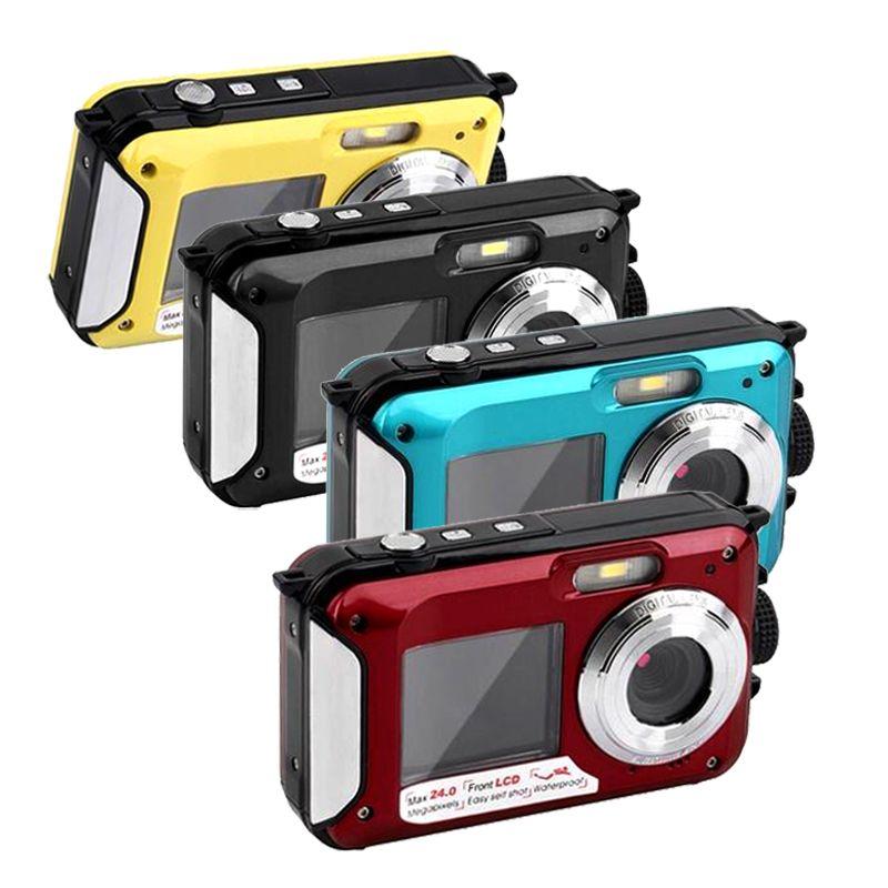 """2.7 """"بوصة مزدوجة المزدوج TFT شاشة مقاوم للماء كاميرا رقمية ماكس 24MP 1080P DV 16X التكبير الرقمي كاميرا"""