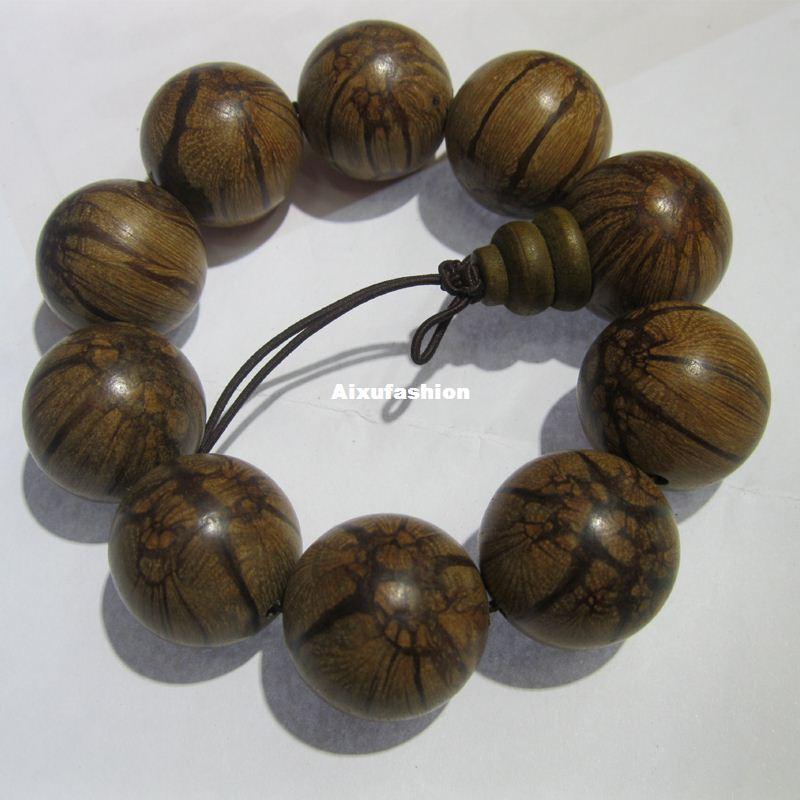 2.5cm Natural Wood Buddha Beads Bracelet Hand Carved Tibetan Buddhist Male Prayer Bracelet Meditation Wrist Wooden Bracelet Beaded Strands