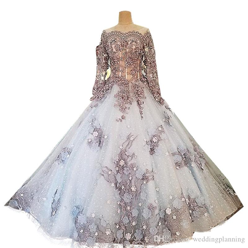 Discount Chinese Luxury Ball Gown Wedding Dresses with Flower Appliques Long Wedding Guest Dress Beaded Crystal Nice Tulle