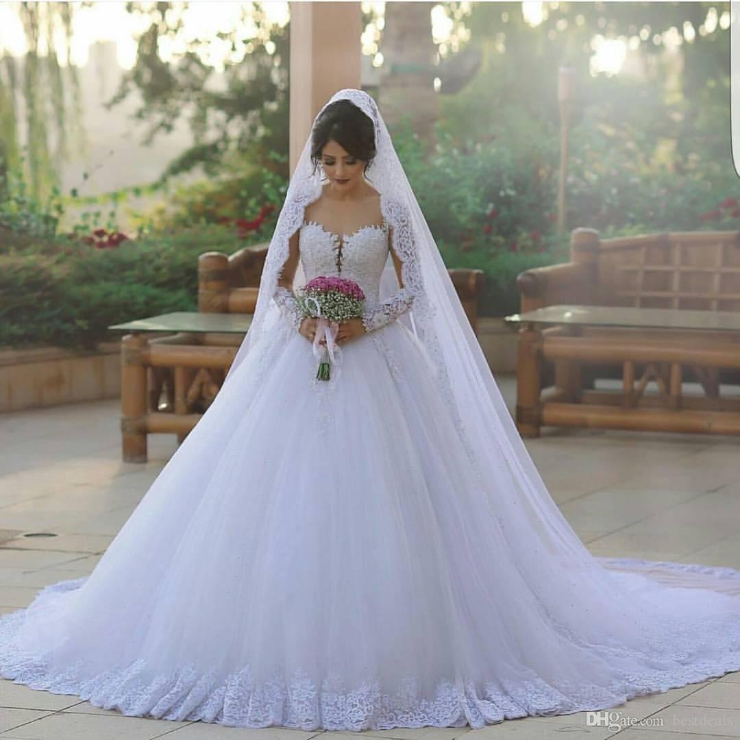 Stunning 2017 Said Mhamad Wedding Dresses Puffy Ball Gown Sheer Long Sleeves Gowns Full Lace